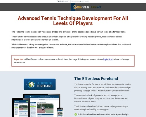 Feel Tennis Online Video Instruction Courses